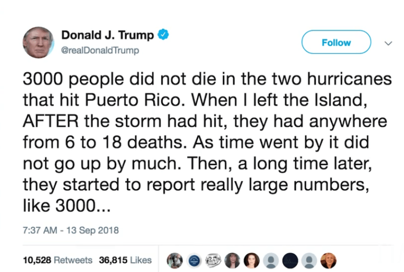 Donald Trump Tweet Tornado Death Toll Stats