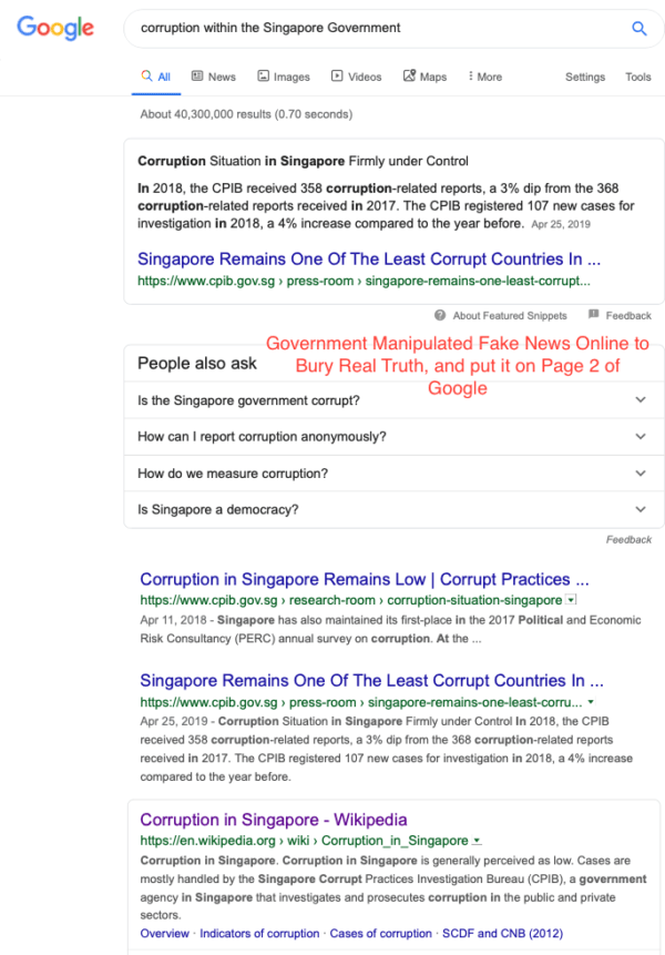 Singaporean Government Fake News Propaganda